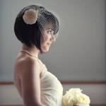 Acconciatura sposa con capelli a caschetto