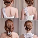 Acconciature da sposa raccolte con capelli lunghi