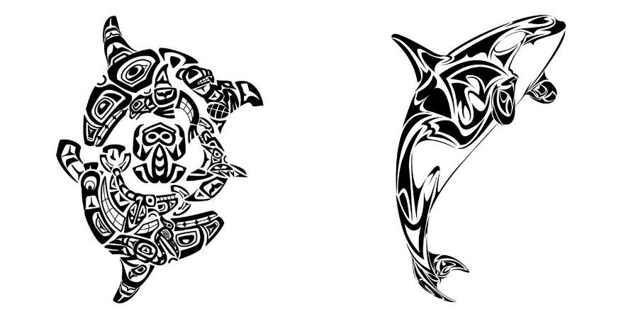 Balena Maori Tatuaggio che rappresenta la Famiglia