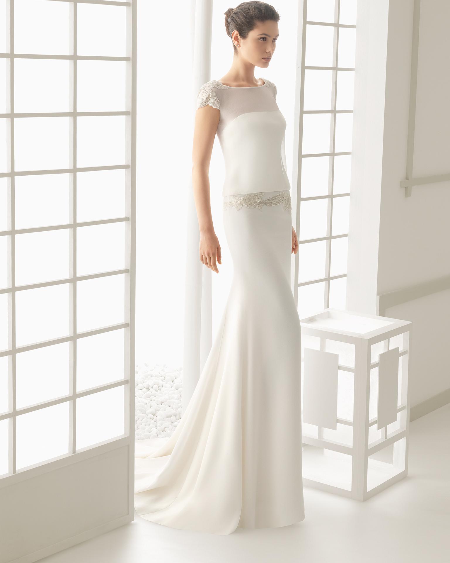 7d50136d4199 Vestito da sposa scivolato con maniche corte 2016 Rosa Clara mod Diseno
