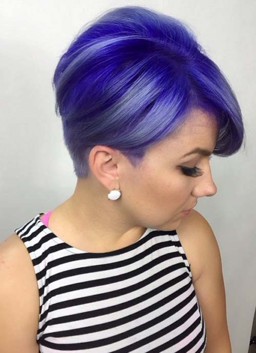 Taglio corto alla moda con capelli viola - Lei Trendy
