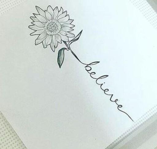Disegno per Tatuaggio Felicita con fiore di girasole