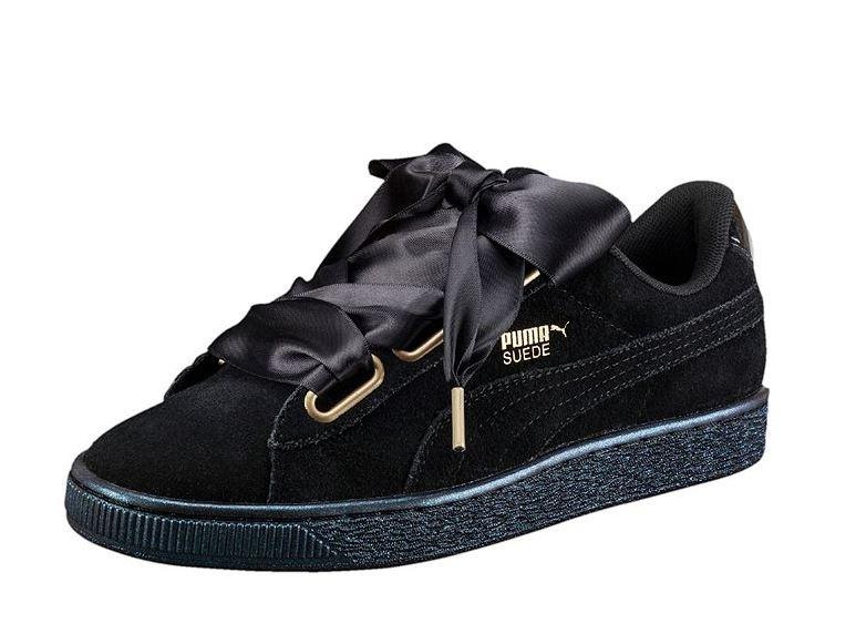 Nuove sneakers Puma donna con fiocco Suede Heart Satin Black