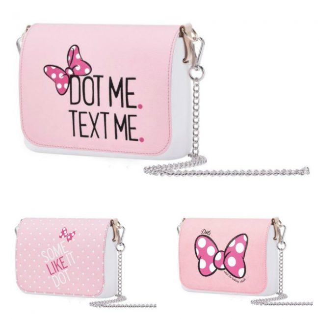 af852e7751 Pattine O Pocket Disney in ecopelle con fantasia a righe bianche e stampa  di Minnie e Paperina su fondo rosa o giallo. Il prezzo è di 39 euro.  Portamonete ...
