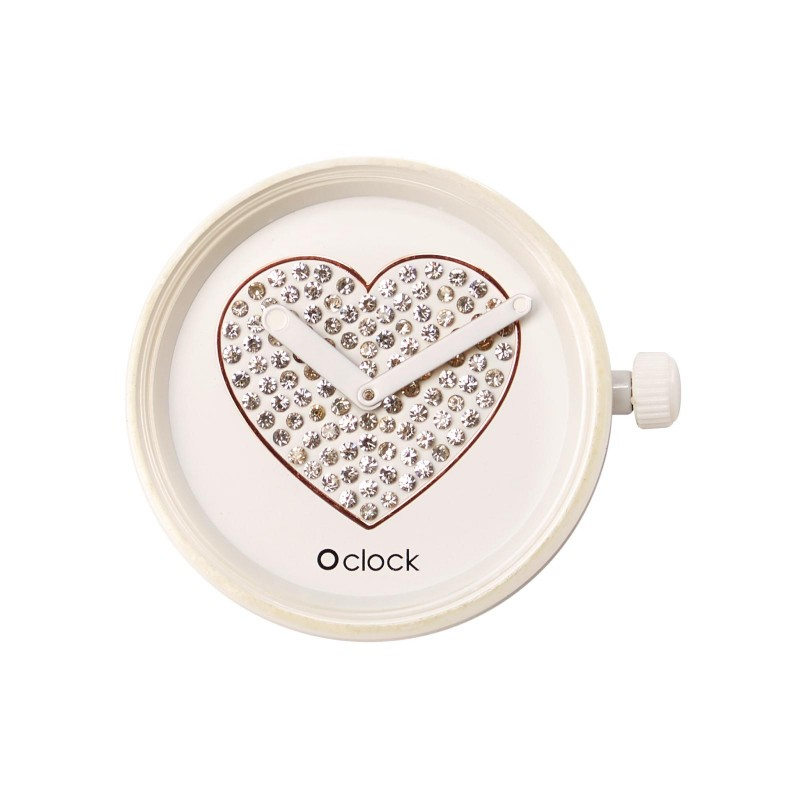 Meccanismo O Clock Sparkling heart bianco per orologio O Bag
