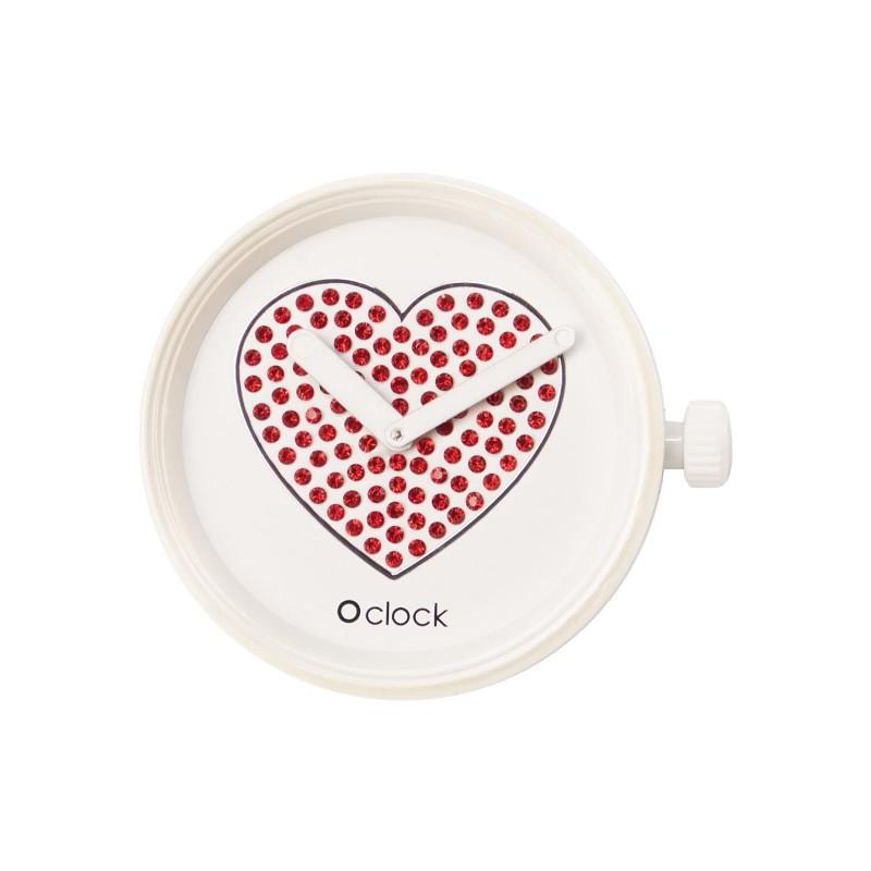 Meccanismo O Clock Sparkling heart rosso per orologio O Bag