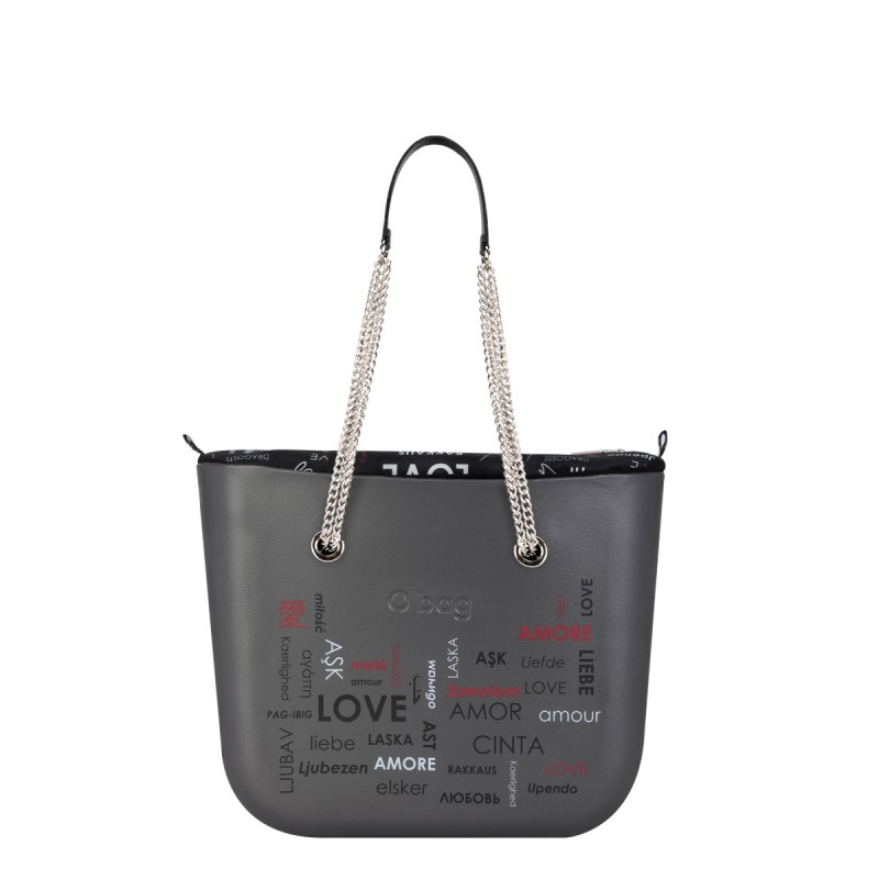 O Bag Grafite San Valentino 2019 con manici lunghi con catena prezzo 132 euro