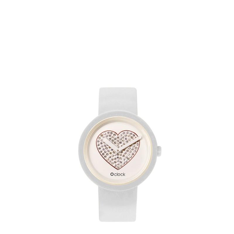 Orologio O Clock bianco con meccanismo cuore bianco 2019