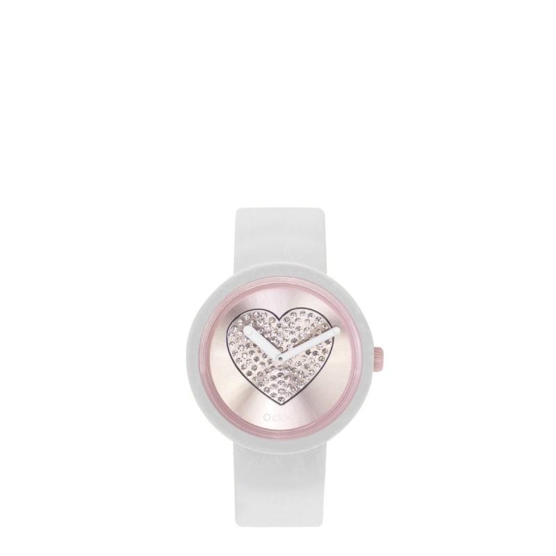 Orologio O Clock bianco con meccanismo cuore cipria 2019