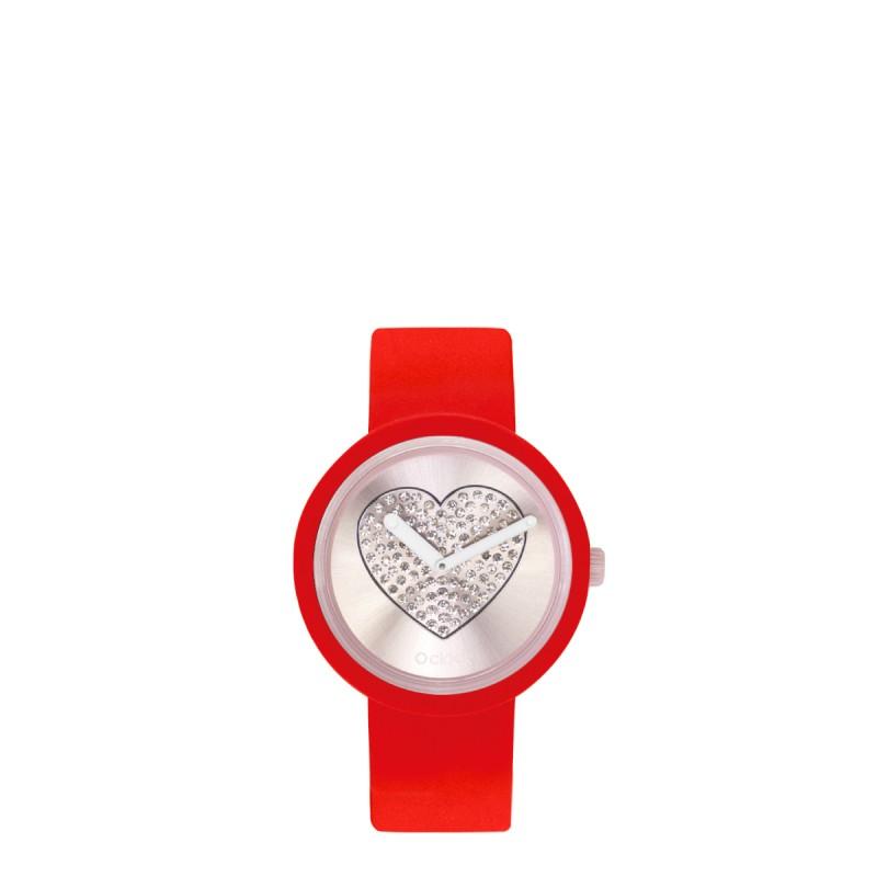 Orologio O Clock di O bag rosso con meccanismo cuore cipria 2019
