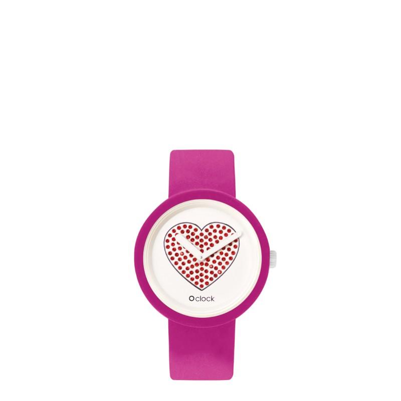 Orologio O Clock magenta con meccanismo cuore rosso 2019