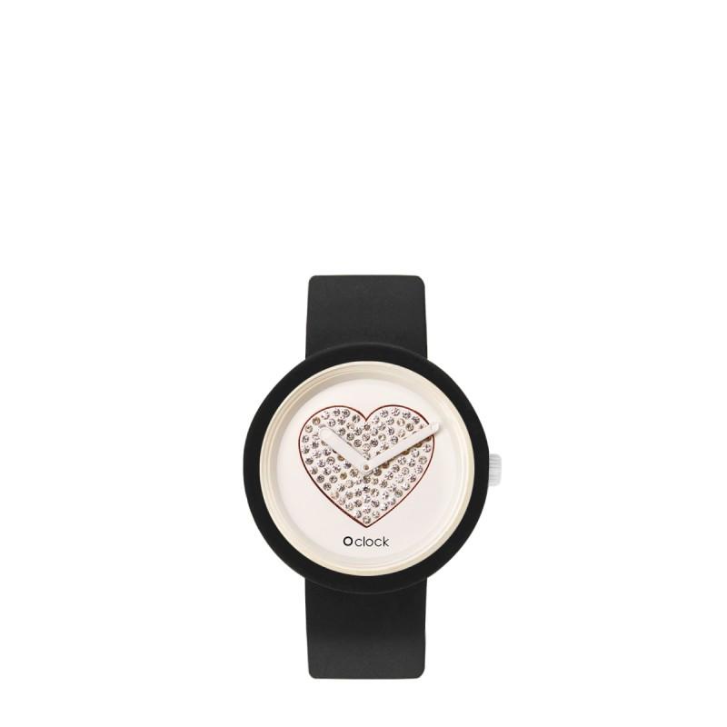 Orologio O Clock nero con meccanismo cuore bianco 2019