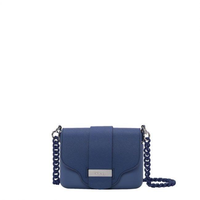 Nuova Borsa O Pocket con tracolla a catena in plexiglass prezzo 92 euro colore cobalto