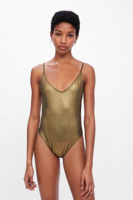 Costume intero dorato Zara 2019