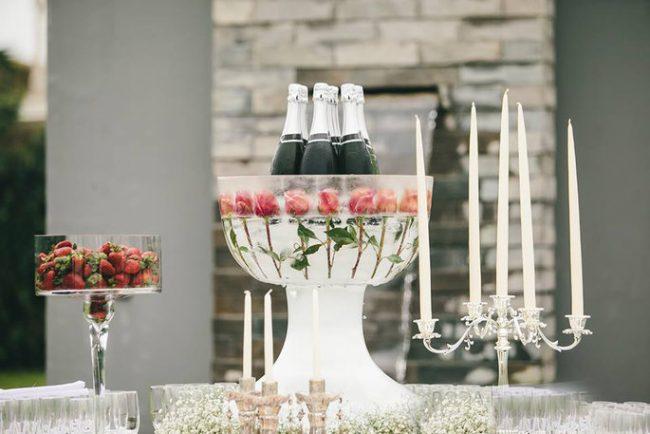 Scultura di ghiaccio per un matrimonio