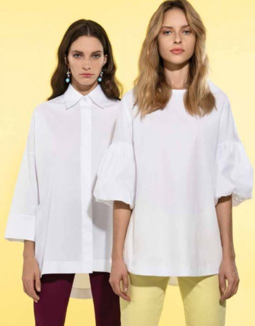 Blusa e Camicia in cotone bianco catalogo Nara Camicie primavera estate 2019