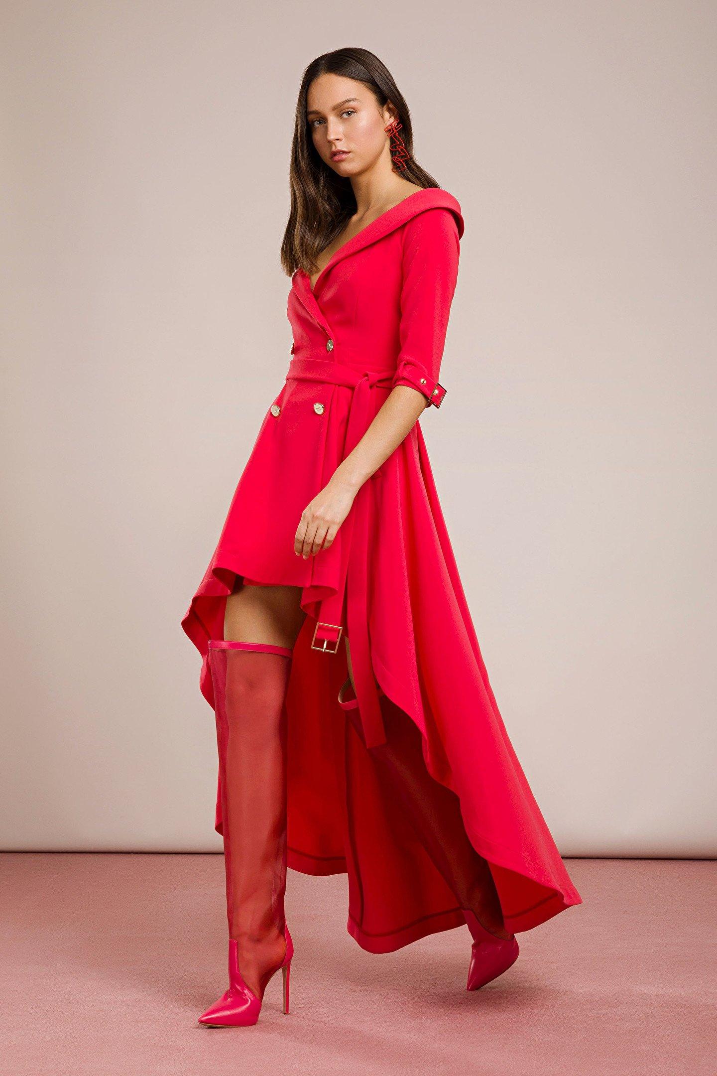 Elegante abito asimmetrico corto davanti lungo dietro Elisabetta Franchi 2019