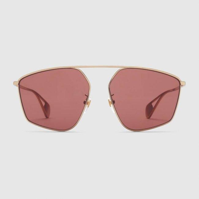GUCCI occhiale da sole dalla forma geometrica in metallo