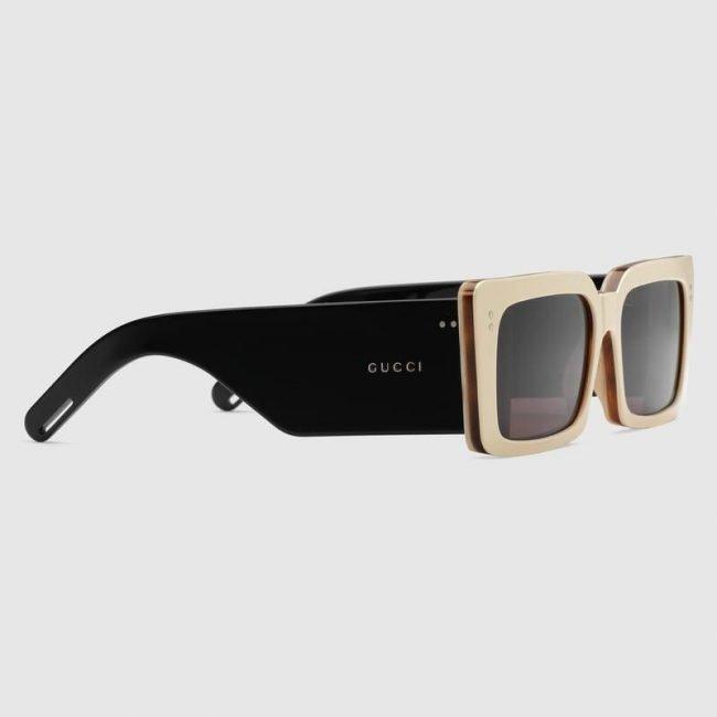 Occhiale da sole rettangolare con aste larghe Gucci 2019