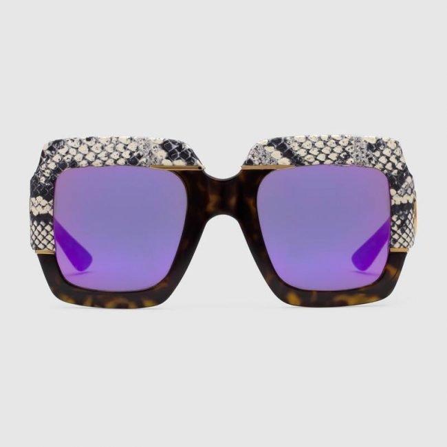 Occhiali da sole GUCCI oversize con pelle effetto serpente estate 2019