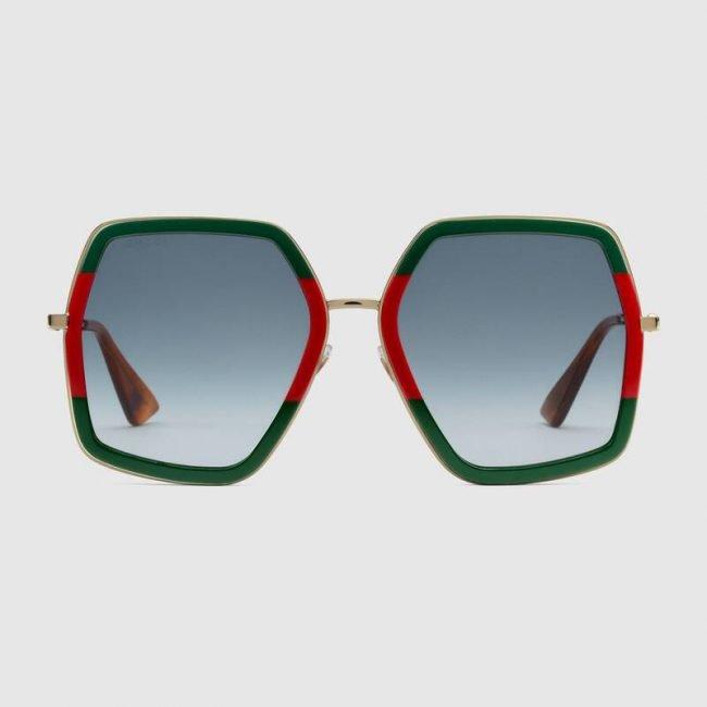 Occhiali da sole oversize in metallo e acetato Gucci 2019