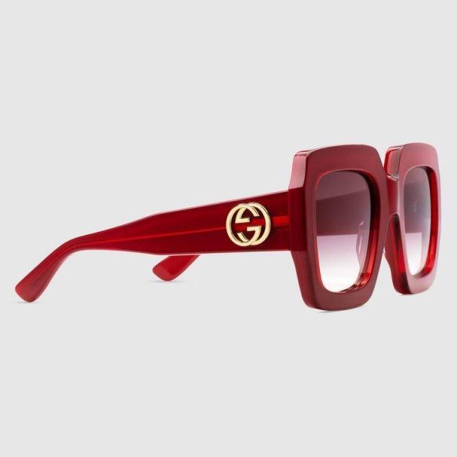 Occhiali da sole oversize rossi Gucci 2019