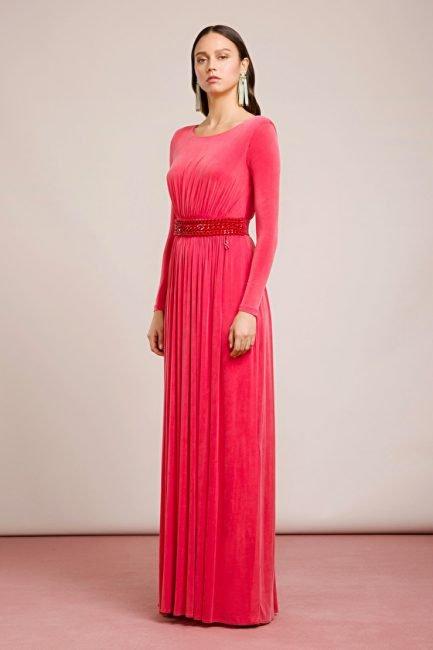 Raffinato abito con maniche lunghe Elisabetta Franchi collezione primavera estate 2019