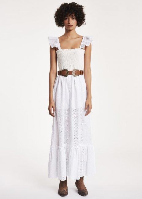 Vestito lungo bianco in cotone sangallo estate 2019 Denny Rose