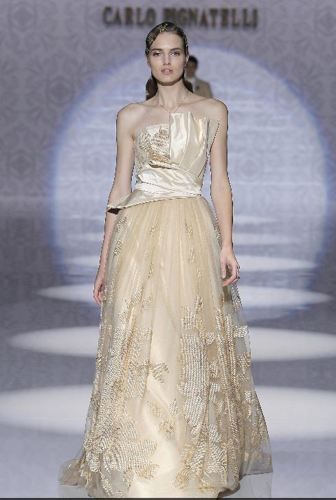 Vestito da sposa color oro Carlo Pignatelli 2020