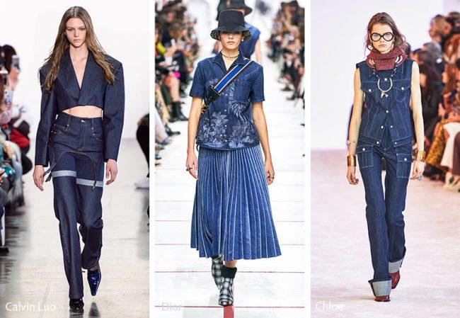 Abbigliamento in denim blu indaco moda inverno 2019 2020
