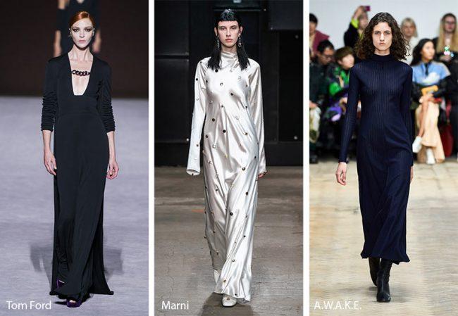 Abiti da sera a colonna moda inverno 2019 2020