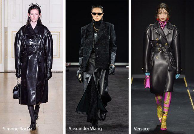 Moda inverno 2019 2020 trench in pelle nera alla Matrix anni 90