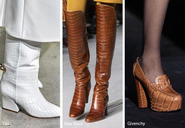 Scarpe e stivali effetto pelle coccodrillo moda inverno 2019 2020