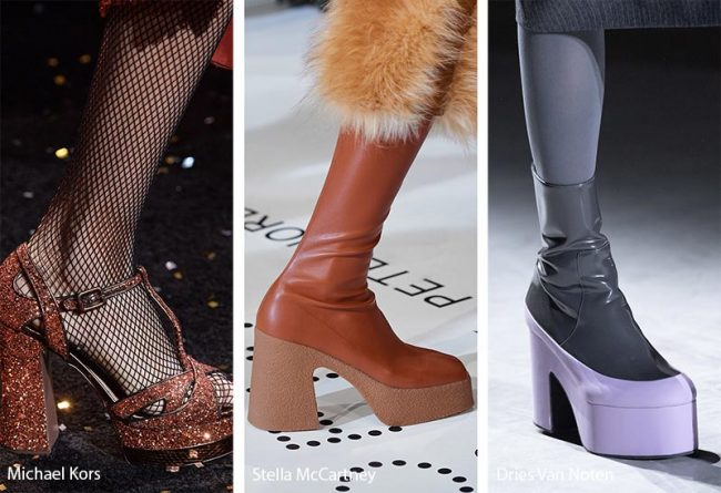 Tendenza scarpe e stivali inverno 2019 2020 con tacchi platform