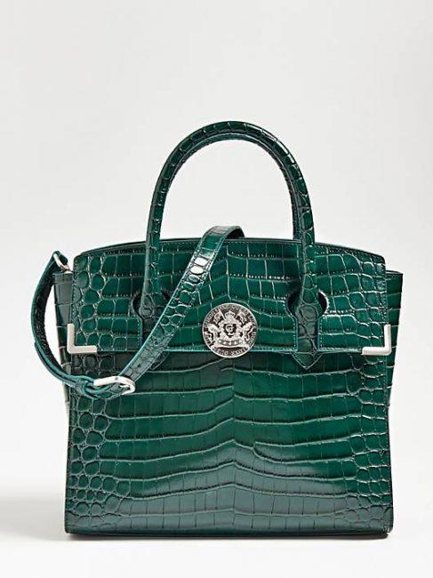 Atlas Bag Guess Luxe in vera pelle effetto coccodrillo colore verde catalogo inverno 2019 2020jpg