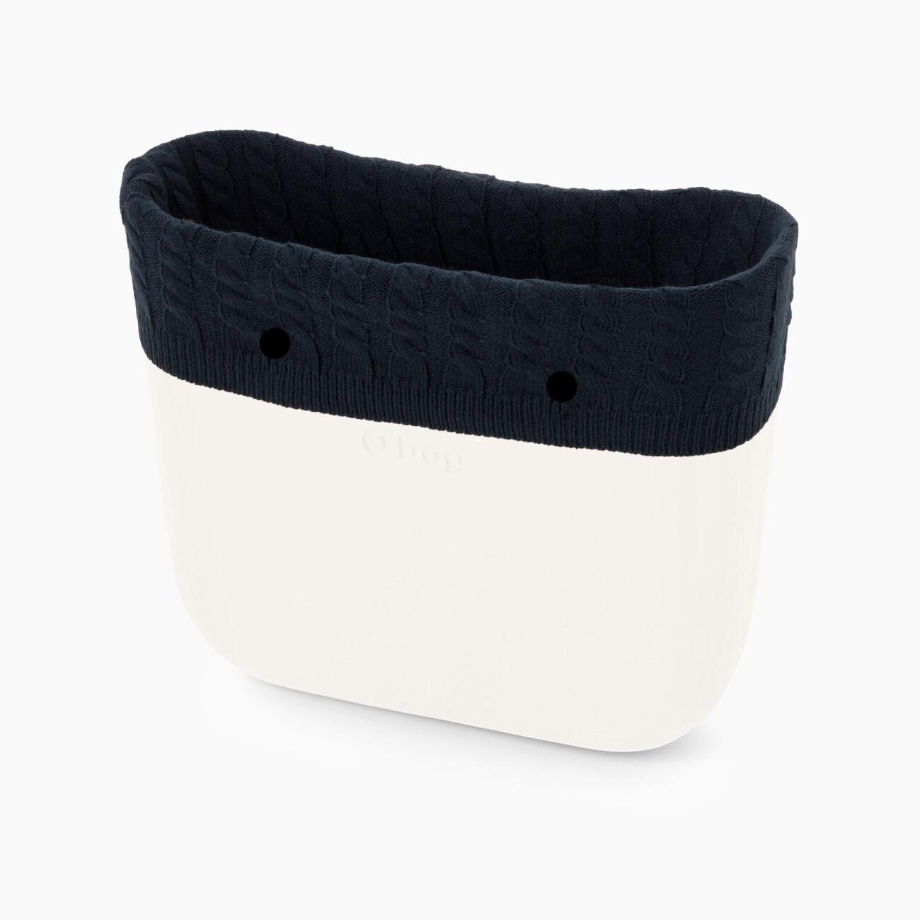Bordo borsa o bag invernale in lana con trecce colore blu navy