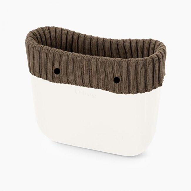 Bordo invernale borsa O bag in lana a coste larghe color tortora