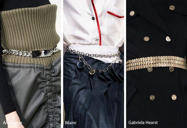 Cinture con catene moda accessori inverno 2019 2020