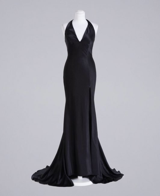 Elegante abito da sera a sirena in satin nero Twinset inverno 2020