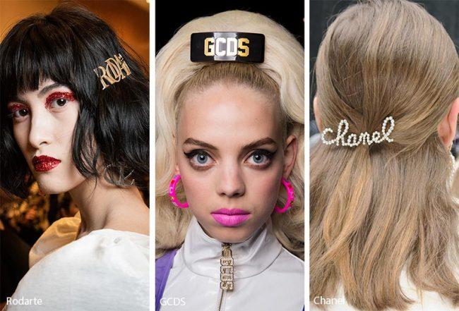 Fermagli per capelli con logo moda inverno 2019 2020