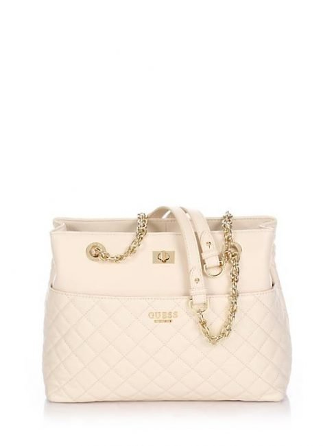 Guess Luxe Suave Carryall bag in pelle trapuntata bianca