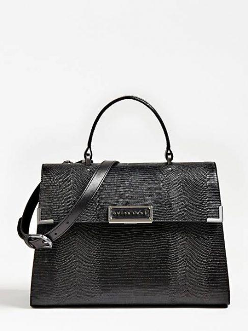 Guess Luxe borsa Belle in vera pelle stampa pitone nera inverno 2019 2020