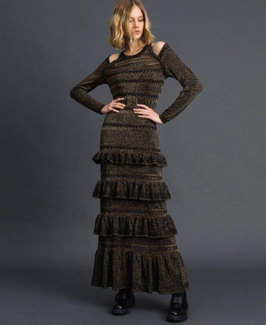 Twinset vestito lungo in viscosa lurex inverno 2019 2020