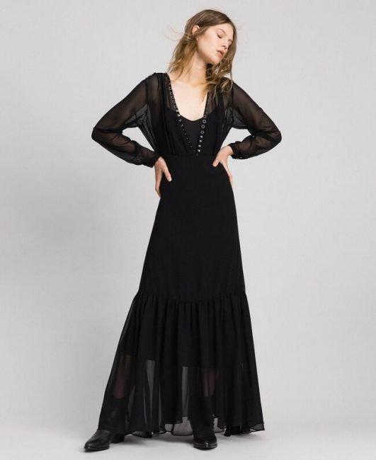 Twinset vestito lungo nero catalogo autunno inverno 2019 2020