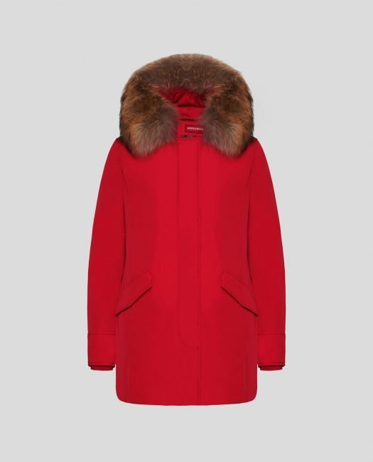 Luxury Arctic Parka Woolrich donna inverno 2019 2020 colore red sky con pelliccia