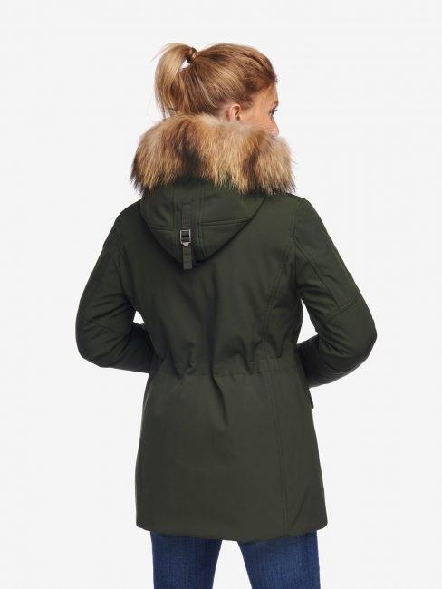 Parka Blauer donna collezione inverno 2020 in neoprene verde foto retro