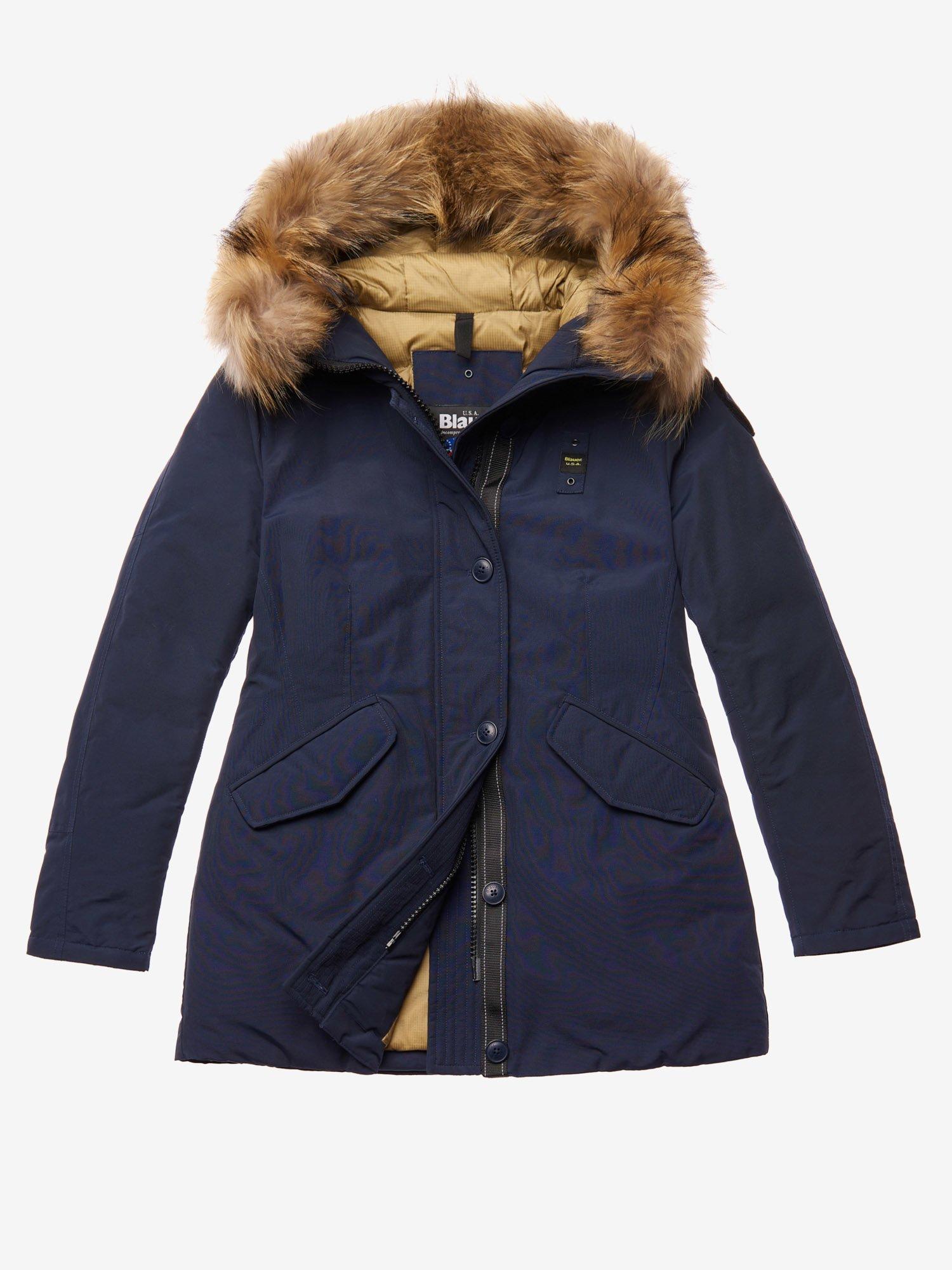 Parka Blauer donna collezione inverno 2020 prezzo 573 euro colore blu in tessuto taslan