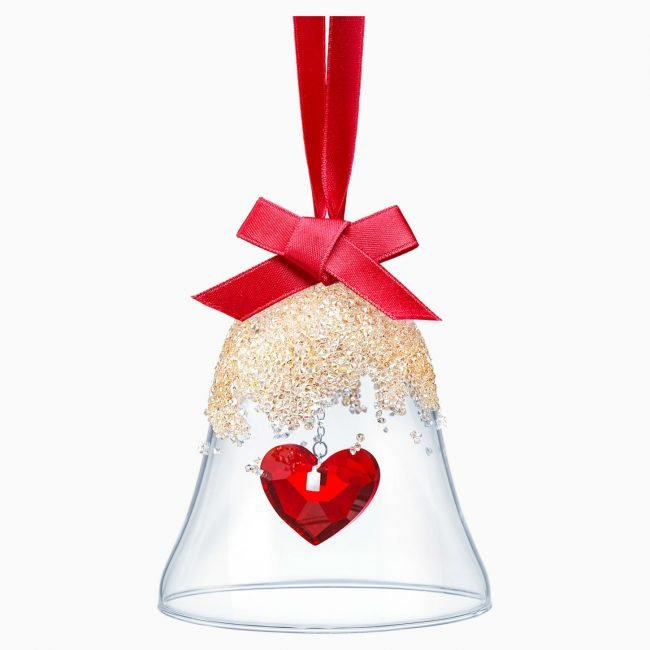 Campanella di vetro Swarovski Natale 2019 con cuore rosso