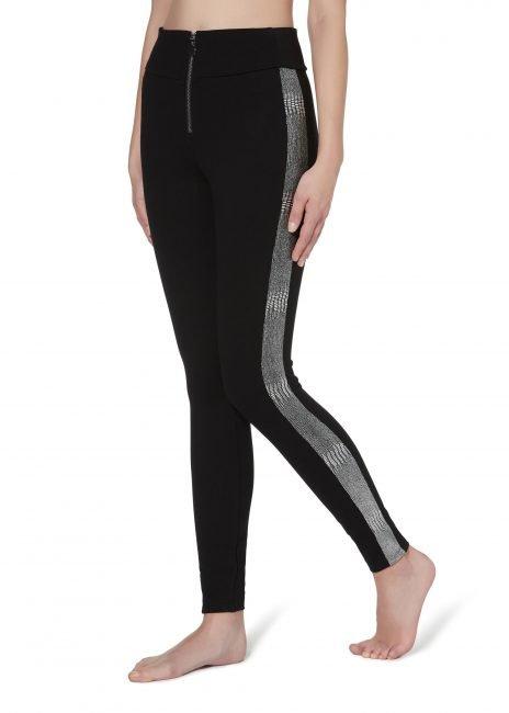 Leggings modellanti neri con bande laterali metallizzate Calzedonia inverno 2019 2020