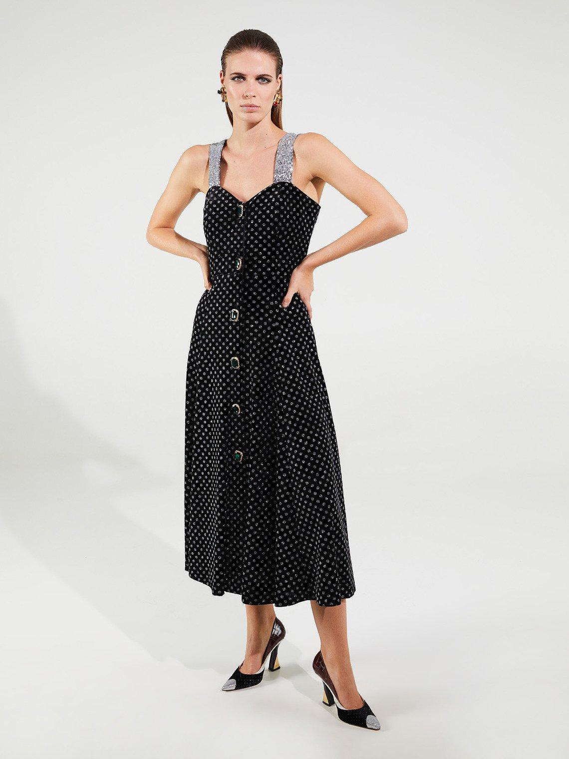 Vestito in velluto con pois glitterati linea Smart Couture Motivi inverno 2019 2020 prezzo 249 euro